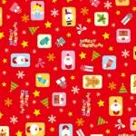 クリスマス包装紙 カラフルオーナメント赤