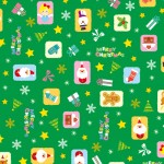 クリスマス包装紙 カラフルオーナメント緑