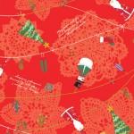 クリスマス包装紙 エーデルレッド